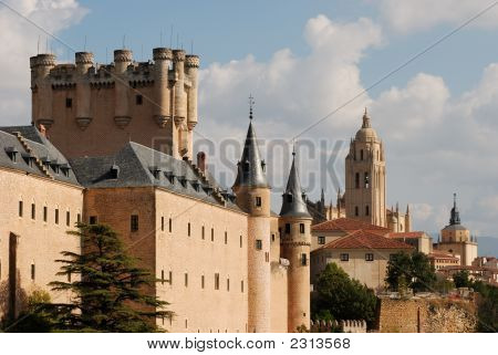 Alcazar And Cathedral Of Segovia, Spain