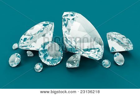 Blue Diamonds isolated on blue