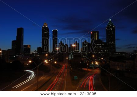 Deep Blue Sky Over Atlanta Skyline