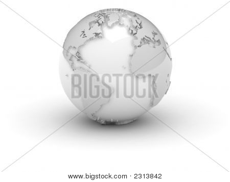 (3D) World In White With Relief