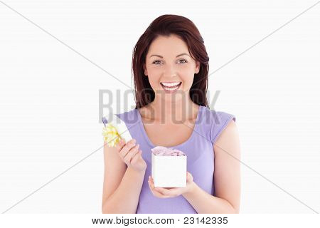 Charming Woman Opening A Box
