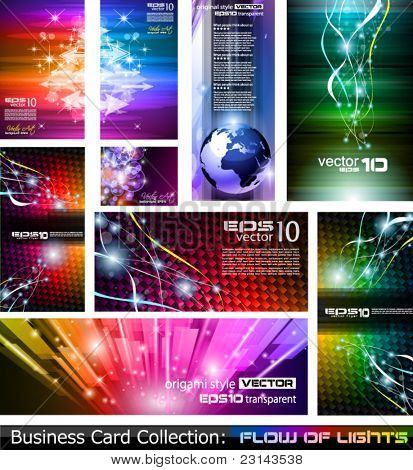 Abstract Business Card Collection: Flow of lights set 5. A collection of backgrounds full of stars, ray lights, glitters and luminance elements.