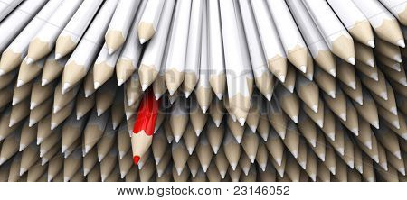 3D Render of white pencil crayons with standout red pencil