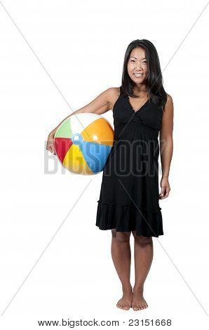 Asian Woman Holding Beachball