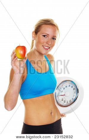 Woman with scales and apple