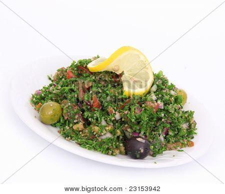 Tabbouleh salad on white