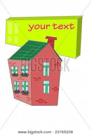 House With Table For Your Text - Vector