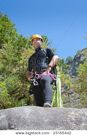 Men Praticing Canyoning