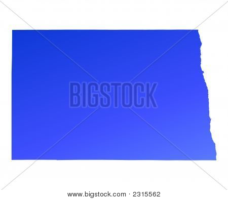 Blue Gradient North Dakota Map, Usa