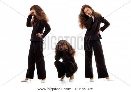 Businesswoman expressing negative emotions. Isolated on white background.