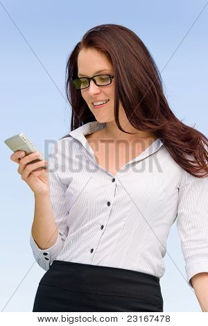 Businesswoman Blue Sky Attractive With Phone