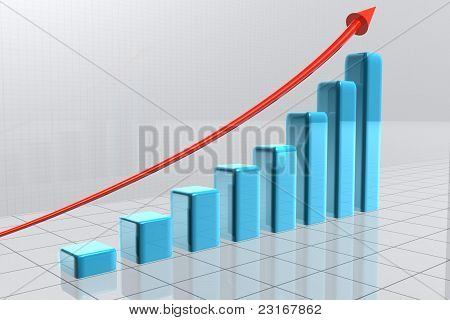 Arrow Going Over Bars Forming A Statistic