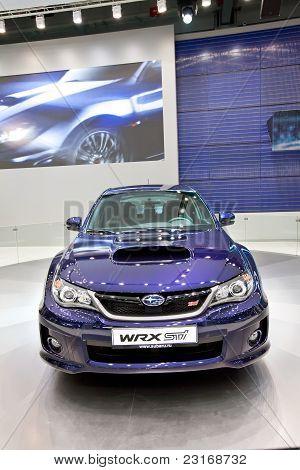 Moscow, Russia - August 25:  Blue Car Subaru  Impreza Wrx At Moscow International Exhibition Interau
