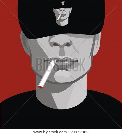 A Man With A Cigarette On A Red Background. Graphics.