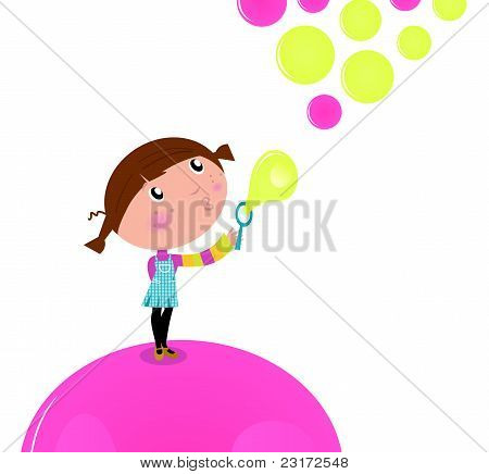 Cute Little Kid Blowing Soap Bubbles Isolated On White.