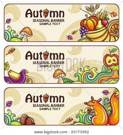 Vector set of decorative autumnal banners. Design elements. part 3