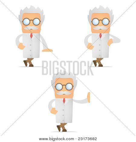 cartoon scientist leaning on an empty block