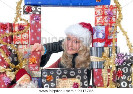 Teen Surrounded In Xmas Gifts