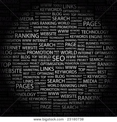 SEO. Word collage on black background. Vector illustration. Illustration with different association terms.