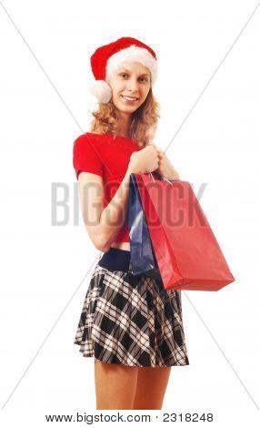 Santa Girl mit Taschen