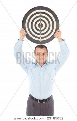 Businessman Holding Target Above His Head