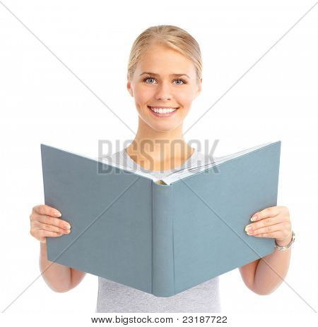 Young reading woman. Isolated over white background.