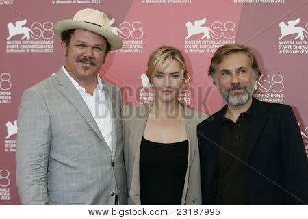 VENICE -SEP 1: John C Reilly; Kate Winslet; Christoph Waltz at the 68th Venice International Film Festival in Venice, Italy on September 1, 2011.
