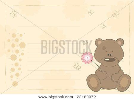 Teddy bear with flower (postcard), vector illustration