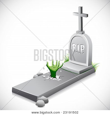 hand coming out of grave stone