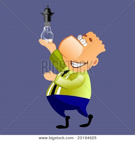 happy businessman with a light bulb