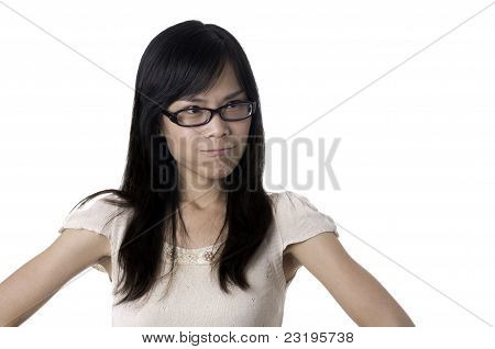 Angry female with glasses