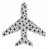 Air Plane Collage Combined In The Shape Of Air Plane Pictograms. Vector Iconized Collage Made From S poster