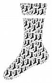 Sock Illustration Done In The Shape Of Sock Pictograms. Vector Iconized Collage Organized With Simpl poster