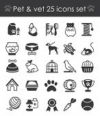 Vector Illustration Of Outline Web Icon Set - Pet, Vet, Pet Shop, Animals And All Stuff Types Of Pet poster