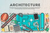 Architecture Top View Banner In Line Art Style  Illustration. Building Project, Design And Construct poster