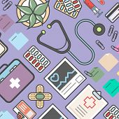Medicine Background With Medical Equipment  Illustration. Healthcare, Diagnosis And Treatment, Pharm poster