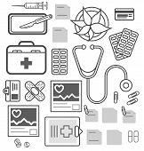 Medical Equipment Isolated Icons. Healthcare, Diagnosis And Treatment, Pharmaceutical Medicine. Stet poster
