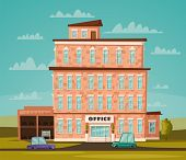 Office Building Facade. Buisness Concept. Exterior Of House. Cartoon Vector Illustration. For Web Or poster