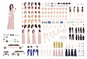 Elegant Woman Dressed Evening Prom Clothing Creation Set Or Diy Kit. Collection Of Body Parts, Facia poster