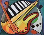 image of expressionism  - Fine art cubist abstract musical instruments painting - JPG