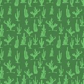 Green Cactus Silhouettes Seamless Pattern Background Flora Design. Vector Illustration poster