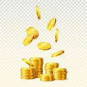 Realistic Golden Coins Falling, Stacks Or Towers Of Dollar Metal Currency, Round Golden Bucks On Tra poster