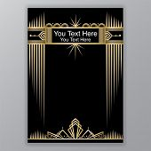 Art Deco Template Golden-black, A4 Page, Menu, Card, Invitation, Sun And City Lights In Artdeco/art  poster
