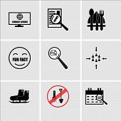 Set Of 9 Simple Editable Icons Such As Upcoming Events, No Shovel, Snowshoe, Customer Centric, Monop poster