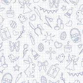 Seamless Pattern With Simple Contour Icons On A Theme The Holiday Of Easter , Blue  Contour  Icons O poster