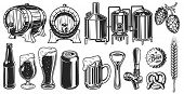 Beer Object Set In Vintage Style. Detailed Vector Illustration poster