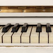 White Pianoforte, Front View Instrument, Musical Instrument. Learn To Play The Instrument At Home. W poster