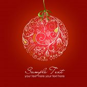 stock photo of christmas cards  - Beautiful Christmas ball illustration - JPG
