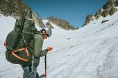 Man Adventurer With Gps Tracker Navigator Checking Location Coordinates Climbing In  Mountains Exped poster