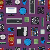 Cartoon Pc Components Seamless Pattern Background Technology Concept Flat Design Style Include Of Mo poster